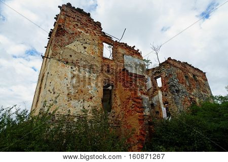 Ruined house in Open air museum of the Croatian War of Independence (1991-1995) in Karlovac Croatia