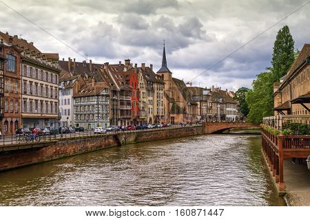 Canal and Saint-Nicolas dock by day in Strasbourg, France