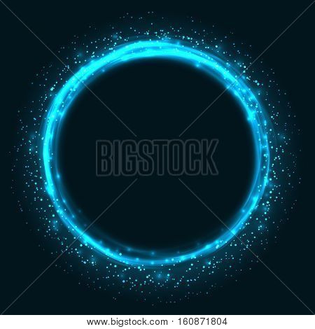 Abstract glowing circle vector background. Light round frame with copy space.