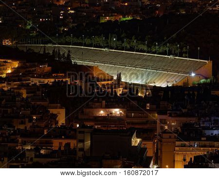 Athens Greece night view of the renovated ancient stadium