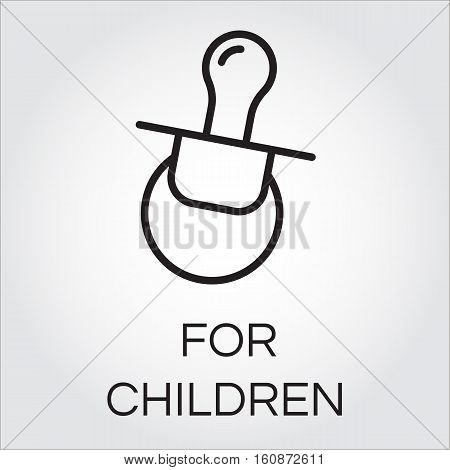Icon of baby soother. Contour graphics of nipple for little children. Icon of baby soother. Pictogram or infographic element in outline style. Line vector for web, mobile app and other design needs