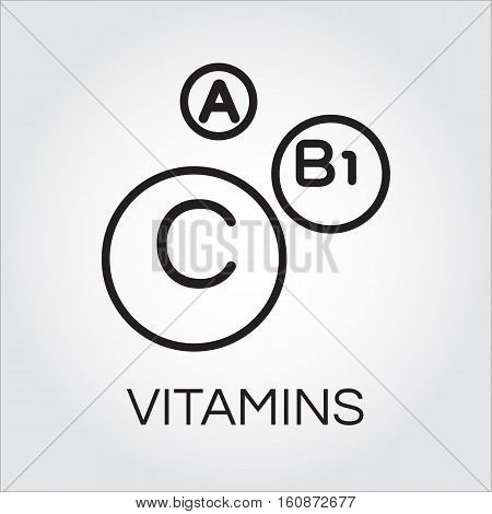 Abstract picture of vitamins. Three icons of vitamins A, C and B1 in outline style. Science and healthy lifestyle concept. Simple line logo for desing, websites or mobile apps. Vector contour graphics