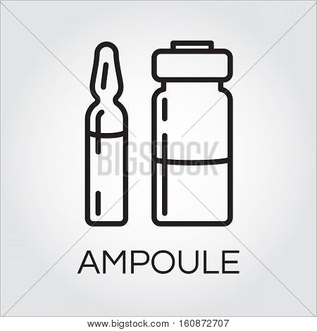Medical ampoule for drugs or vaccine in outline style. Black simplicity icon. Delivery care concept. Linear logo for websites, mobile apps and other design needs. Vector contour pictograph