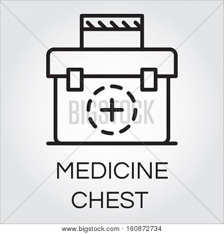 Black simple icon of medicine chest. First aid kit image. Delivery care concept. Logo of medical help service for websites, mobile apps and other design needs. Vector contour graphics