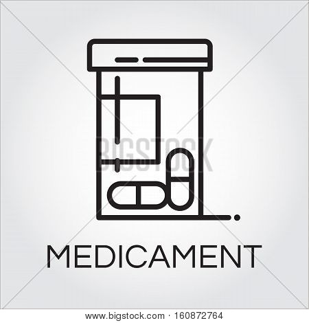 Health care medicament black icon drawing in outline style. Simplicity line pictograph. Delivery care concept. Linear logo for websites, mobile apps and other design needs. Vector contour label
