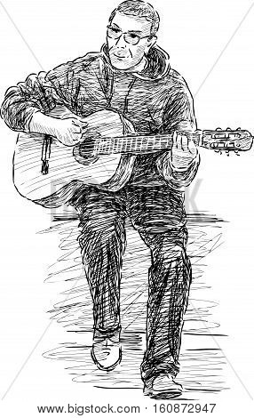 Vector sketch of a caual street guitarist.