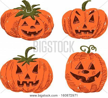 Vector image of the cartoon pumpkins for Halloween.
