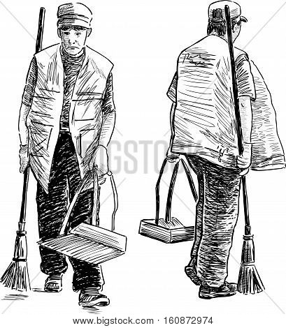 Vector sketch of the street sweepers at a work.