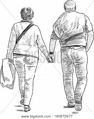 Vector drawing of the elderly spouses on a walk.