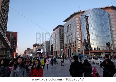 BEIJING - FEBRUARY 23: Wangfujing shopping street in center of Beijing, China, February 23, 2016.