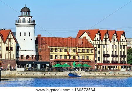 KALININGRAD, RUSSIA - June 18, 2016: Fishing Village on a summer evening. Tourist attraction, a favorite place of rest of the townspeople and visitors of the city