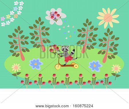 Cute cartoon raccoon traveling by homemade scooter. Greeting card. Summer day in the forest.