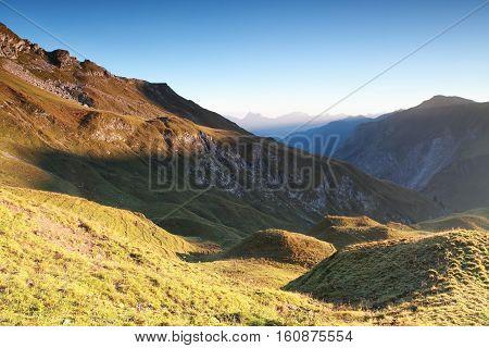 autumn morning in high mountains Austrian Alps