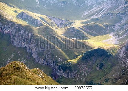 light and shadows in morning mountains Austria