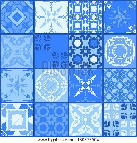 Moroccan ceramic tiles in bright blue tones. Cute patchwork pattern. Pillowcase. Beautiful vector illustration.