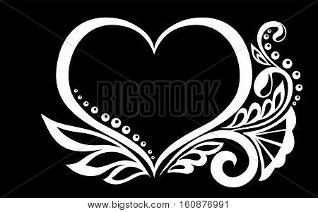 beautiful monochrome black and white silhouette of the heart of lace flowers tendrils and leaves isolated.Floral design for greeting card and invitation of wedding birthday Valentine's Day mother's day and seasonal holiday