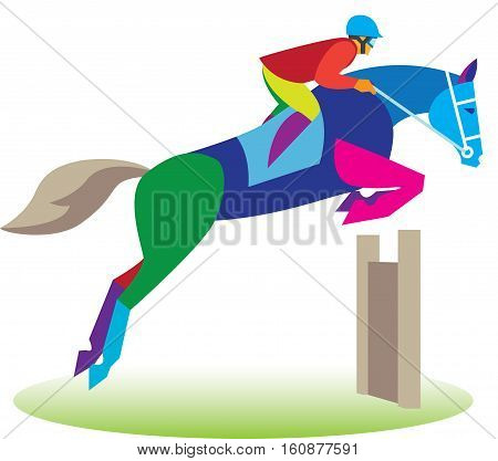 the rider on the horse jumps over a hurdle at the competition