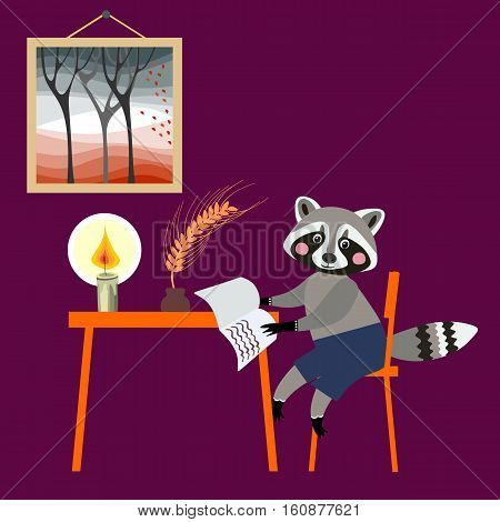 Cute raccoon - writer. Book illustration for children