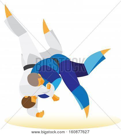 experienced judoka executes the winning throw contender