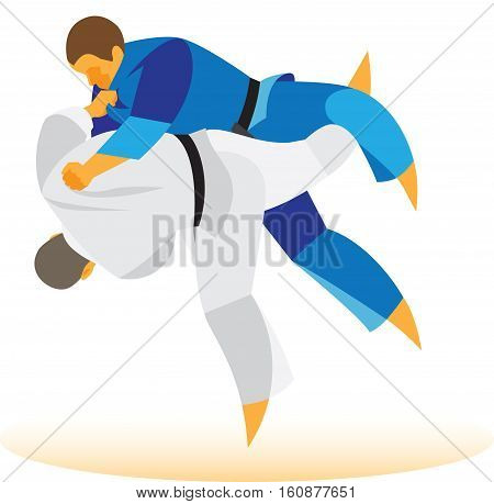 experienced judoka throw the opponent through the thigh