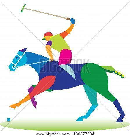 Polo horse player ready to hit the stick on the ball