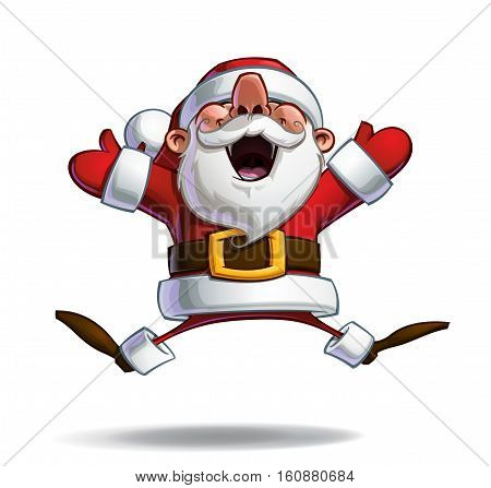 Vector Cartoon illustration of a happy Santa Claus in ecstasy jumping in the air with open arms. Line art Shadow Light Color & Drop Shadow neatly on well-defined layers and groups for easy editing