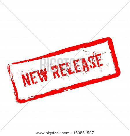 New Release Red Rubber Stamp Isolated On White Background. Grunge Rectangular Seal With Text, Ink Te