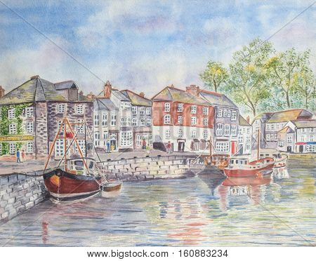 Painting of the harbor in Padstow village in CornwallUK