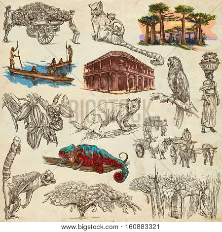 Travel MADAGASCAR. Pictures from the Life - and Nature - of one of the largest Island in the World. Full sized hand drawing collection. Hand drawn illustrations. Pack of freehand sketches on old paper