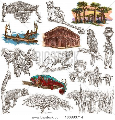 Travel MADAGASCAR. Pictures of Life - and Nature - of one of the largest Island in the World. Full sized hand drawing collection. Hand drawn illustrations. Pack of freehand sketches on white isolated