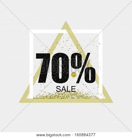 Discount coupon or the sale in a modern style. Triangular Golden frame. Vector illustration