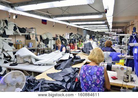 GUKOVO RUSSIA - SEPTEMBER 2016 work in a garment factory