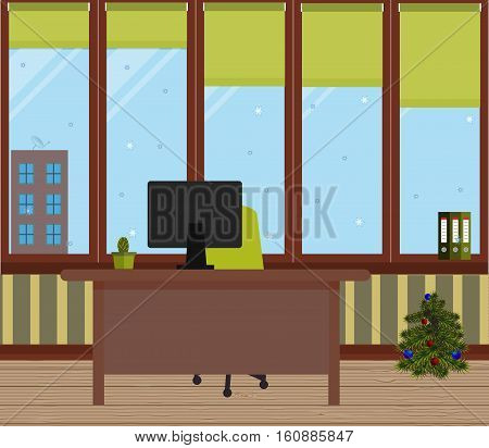 New Year office. Vector illustration. Table, light green chair, folders, cactus in a pot, large Windows, protective blinds, Christmas tree with red and blue balls. Wooden floor. Striped wall.