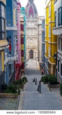 Colorful street in the historic center of La Coruna, Galicia, Spain