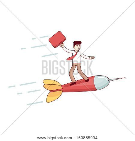 Business man leader flying fast on a dart arrow to his aim target to success. Modern flat style thin line vector illustration. Concept isolated on white background.