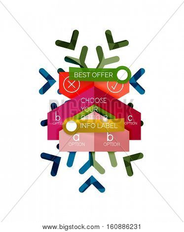 Christmas sale info banner, holiday greeting card or promo brochure elements