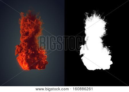 Chemical cloud of orange smoke mixing on black background with alpha channel. 3d rendering