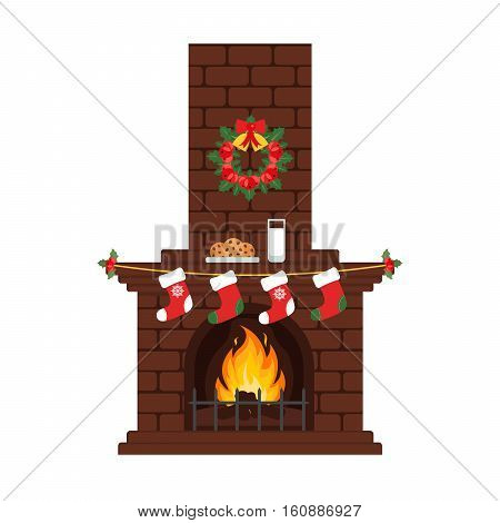 Christmas fireplace in colorful cartoon flat style. Milk and cakes stockings. Merry Christmas and happy New year. Vector.