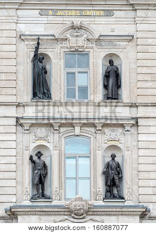 Statues on the Parliament Building of Quebec in Quebec City Quebec Canada