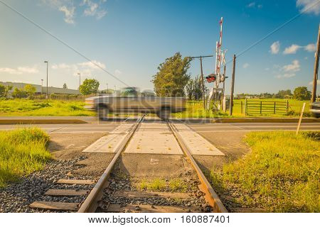 A view of american's railroad countryside sunnyday