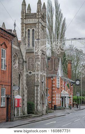 An old street  and church in Farnham, Surrey