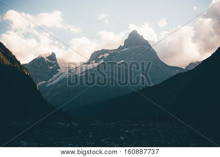 Mountain Summer Landscape With Forest And High Peaks.