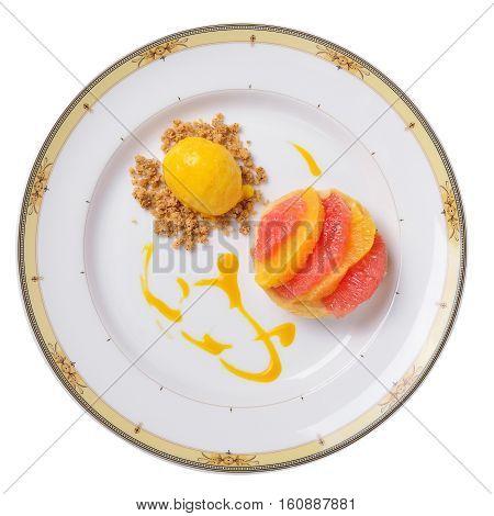 lemon tart with mango sorbet and orange.