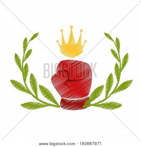 decorative wreath of leaves with boxing glove icon over white background. sport equipment concept. colorful and sketch design. vector illustration