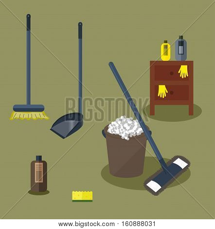Tools for housekeeping: a brown bucket with soapy foam, MOP with dark blue handle and cloth and bottle of detergent with cover. Brown bedside table. Brush and dustpan. Vector illustration
