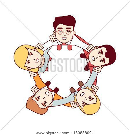 Business man team embracing each other and looking up. Happy teamwork concept. Aerial top view. Modern flat style thin line vector illustration isolated on white background.