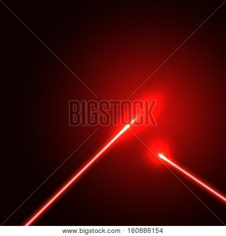 Red laser beam background with light flares. Vector illustration.
