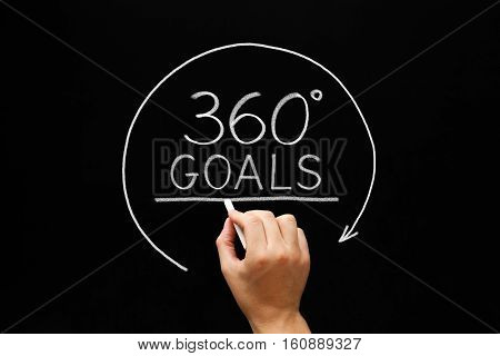 Hand drawing 360 degrees Goals concept with white chalk on blackboard.