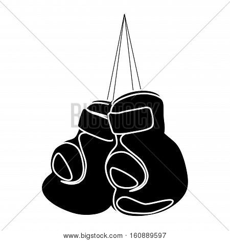 boxing gloves hanging icon. sport equipment concept. over white background. vector illustration