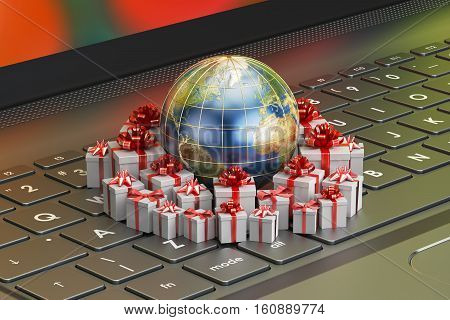 Gift delivery and global online shopping concept Earth with gift boxes on the laptop. 3D rendering